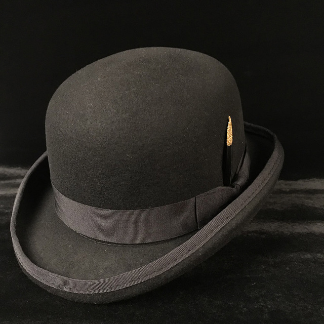 4c941cb96 US $19.87 40% OFF|100% Wool Women's Men's Black Brown Bowler Hat Gentleman  Crushable Derby Hat Dad Billycock Groom Hats Steampunk S M X XXL-in Fedoras  ...
