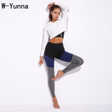 W-Yunna Trending Products 2018 Tri-color Stitching Contrast Slim High Waist Leggings Polyester Sweat-Absorbent Fitness Pants