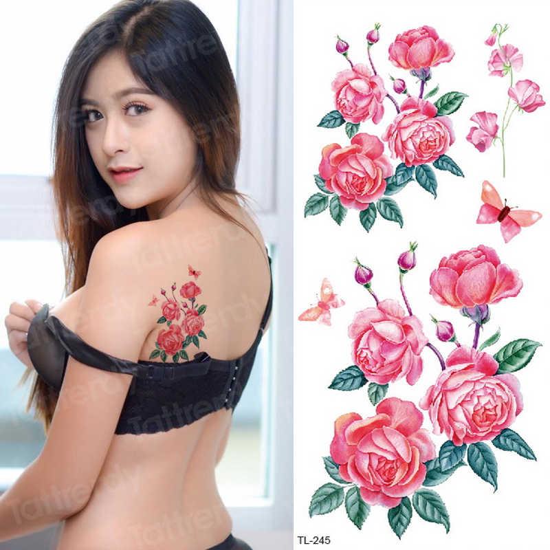 임시 문신 스티커 꽃 장미 유방 문신 섹시한 여자 바디 문신 가짜 여자 sternum 임시 문신 방수 데칼