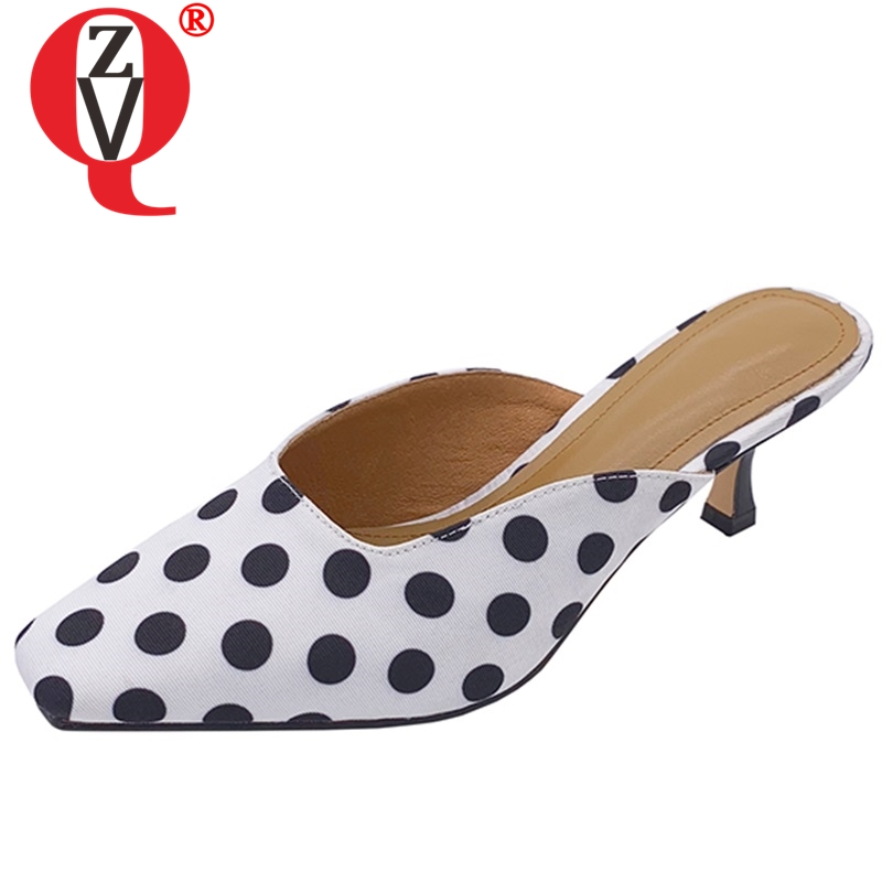 ZVQ Polka Dot Genuine leather slippers Fashion girl sexy woman mules summer outdoor 6cm High Thin heels shoes white blackZVQ Polka Dot Genuine leather slippers Fashion girl sexy woman mules summer outdoor 6cm High Thin heels shoes white black
