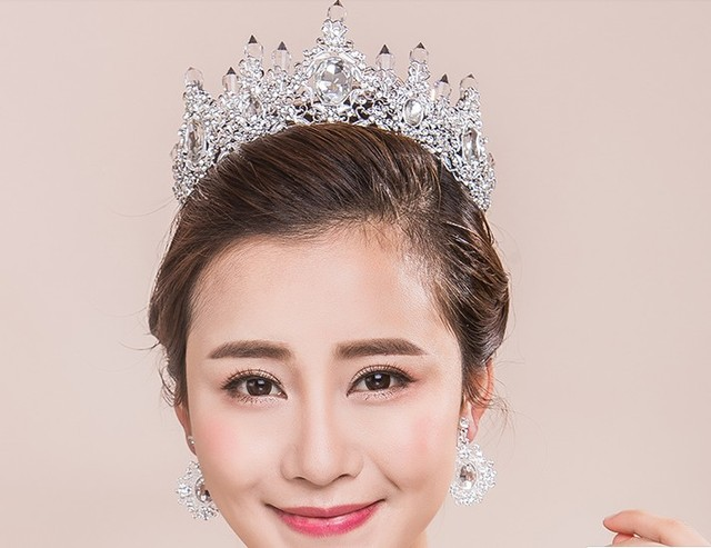 Trendy charm women delicate red silver alloy crystal bride crown hair accessories wedding dress accessories free shipping