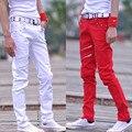 2016 мужчины повседневная осень зима мужская повседневная брюки тонкий молодежная мода талии прямые ноги длинные брюки для певица танцор красный