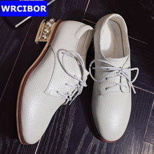 PLUS SIZE 33-43 Flat Oxford Shoes Woman flats 2017 fashion STRING BEAD Vintage British style Brogue Oxford shoes women shoes
