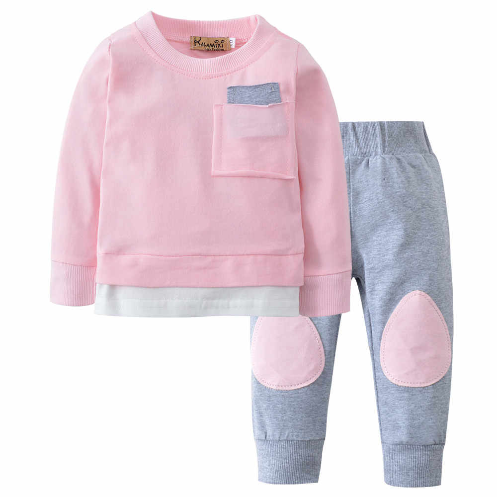 1a97abb296 ... Genuine MUQGEW Baby Clothing 2 Set Autumn Winter Baby Clothes Solid  Color Shirt + Gray Stitching ...