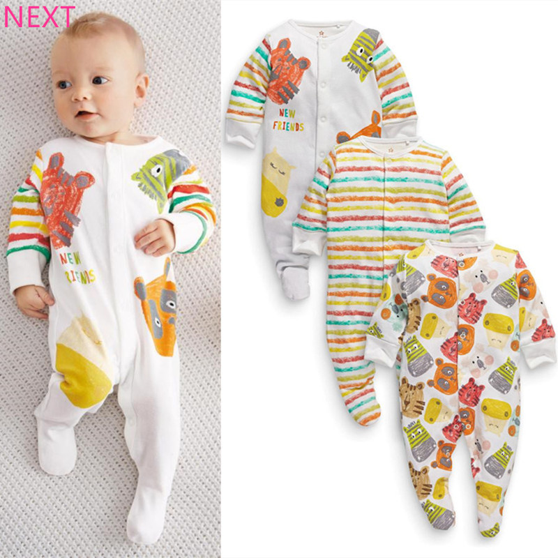 Next 2016 Baby Jumpsuits 100 Cotton Baby Rompers 3pcs Lot Kids Long