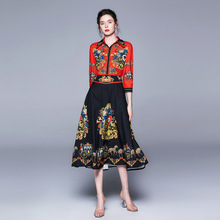 European style vintage dress Brand new design summer three quarter sleeves Fashion womens A281