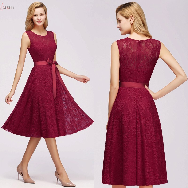 2019 Burgundy Navy Pink Lace Short   Bridesmaid     Dresses   Sleeveless Wedding Party Gown vestido madrinha