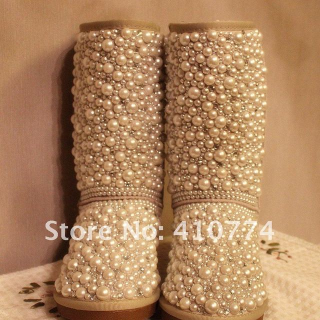 Drop shipping designer  Genuine leather Diamond pearl  women snow boots,high quality sheepskin boots, hand make wedding shoes