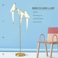 Modern Simple Bird LED Floor Lights Golden Iron Paper Crane Standing Lamp for Restaurant Livingroom Bedroom Indoor Decor
