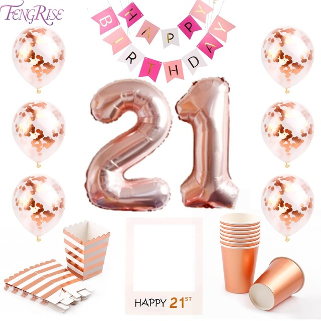 FENGRISE 21st Birthday Party Decorations 21 Happy Balloons Rose Gold Gifts For Theme Years Banner
