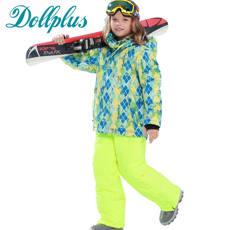 2016 New Russian Winter Children Ski Suit Teenage Girls Windproof Ski Jacket+Bib Pants 2 pieces Girls Snow Ski Set for 6-15Age школьная книга russian books 0 1 3 russian book for children