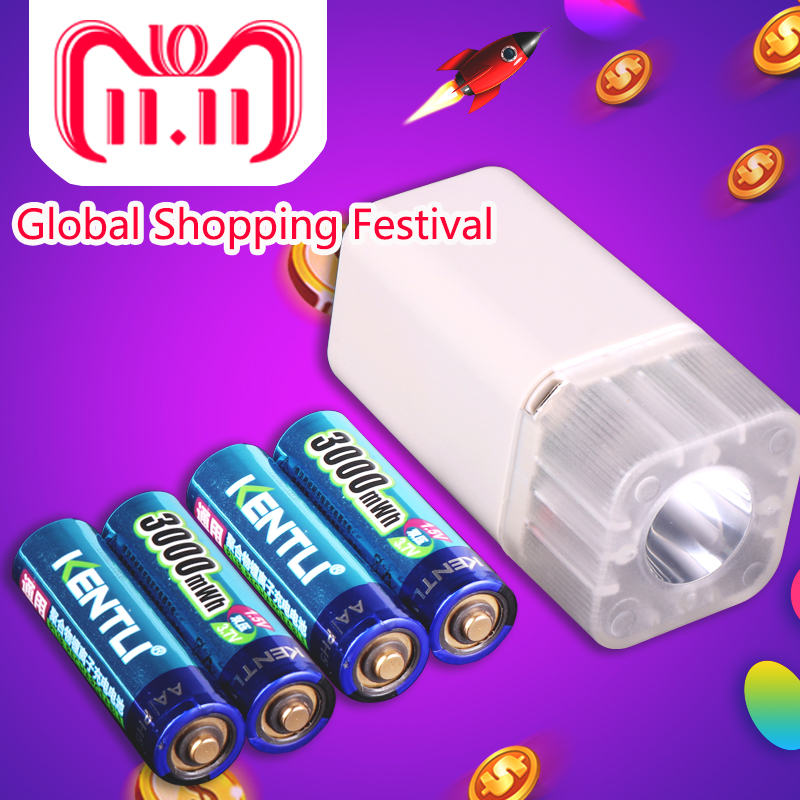 цена на 4pcs KENTLI 1.5v 3000mWh Li-polymer li-ion lithium rechargeable AA battery batteries + 4 slots Charger with LED flashlight