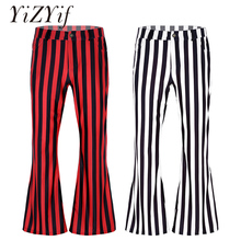 Men Pants 60s or 70s Retro Vintage Mid Waist Striped Stretch Bell Bottom Super Flares Long Pants Trousers Jazz Dance Costumes