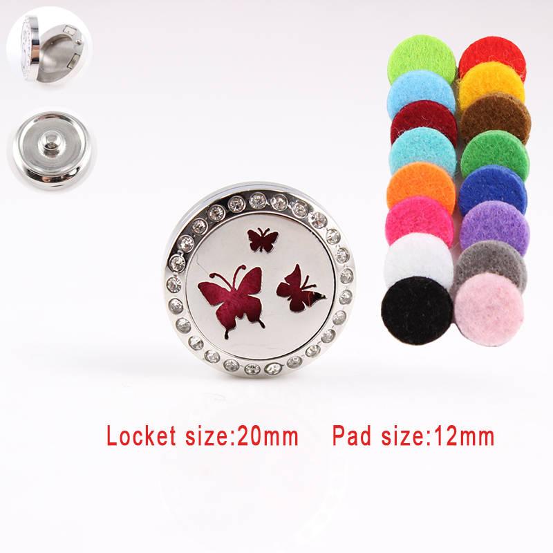 Boutons pression papillon en gros chaud 20mm en acier inoxydable diffuseur d'huile essentielle médaillon bouton pression pour femme 18mm bouton pression bijoux