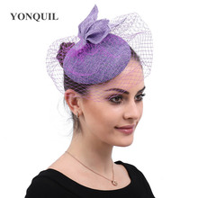 a77a77c2ef3b2 Lavender imitation Sinamay fascinators hat with veiling for Kentucky Derby  wedding party races Event NEW ARRIVAL