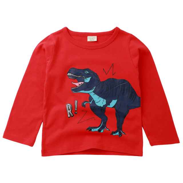 c682b81c4 2018 new children's long-sleeved T-shirt dinosaur pattern top boy girl  round neck