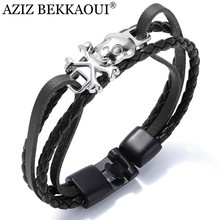 AZIZ BEKKAOUI 4 Colors Punk Stainless Steel Chain Skull Bracelets Genuine Leather Bracelet for Men Jewelry Dropshipping(China)
