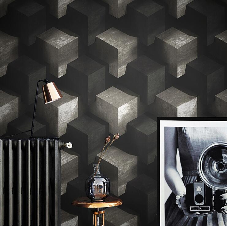 Black,Blue,Grey White 3D Geometric Wallpaper For Walls Modern abstract Stone Wall Papers Home Decor For Living Room Background цена 2017