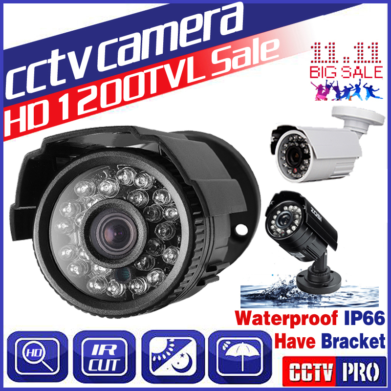 11.11BigSale Real 1200TVL HD Mini Cctv Camera Outdoor Waterproof IP66 IR 24Led Night Vision Analog monitoring security Vidicon