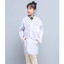 Лето Весна унисекс белый лабораторный халат короткий рукав карманы униформа Рабочая одежда доктор Одежда для медсестер мальчик девочка белый пальто одежда