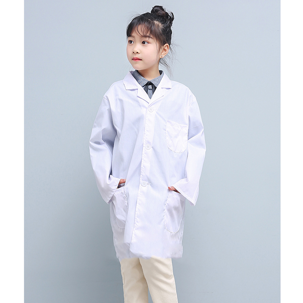 Boys Girls Children Unisex White Lab Coat Long Sleeve Pockets Uniform Work Wear Doctor Nurse Clothing White Pure Summer Spring
