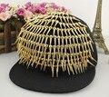 Черный спайк колючие заклепки стад украшенные регулируемая побрякушки плоской Snapback шляпа бейсболка
