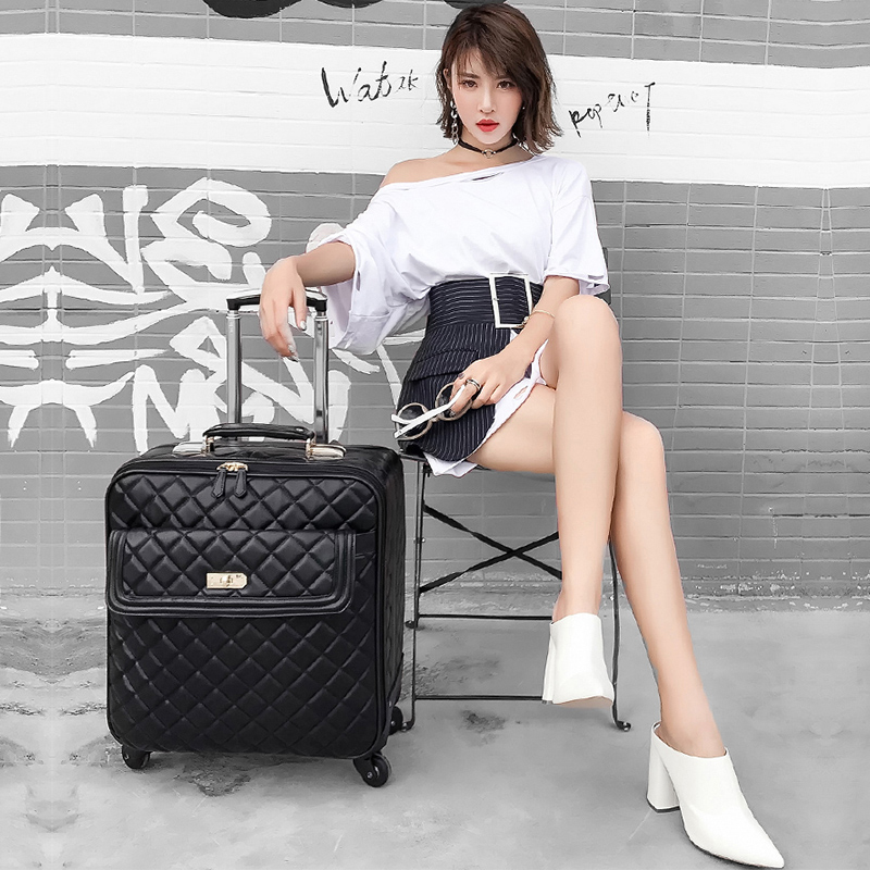 New Arrival!16 20 24inches female black pu leather suitcase,high quality women commercial travel luggage on universal wheelsNew Arrival!16 20 24inches female black pu leather suitcase,high quality women commercial travel luggage on universal wheels