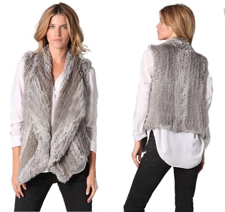 GTC104 dámská zimní móda teplá pletená pravá bez rukávů králičí kožešinová vesta kabát ženské bundy vesta s rozepínacím límcem