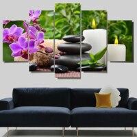 Canvas Prints 5 Pieces Zen Buddha Flowers Stone Painting Wall Art Home Decor Panels Sport Poster