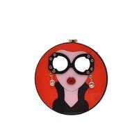 NEW Design Acrylic Round Shape Women Clutch Bag Cartoon Sexy Woman Evening Bag Female Chain Mini