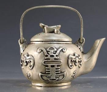 Collection QingDynasty silver carved Bat Teapot ornaments,Hand carving crafts,best adornment & collection,free shipping