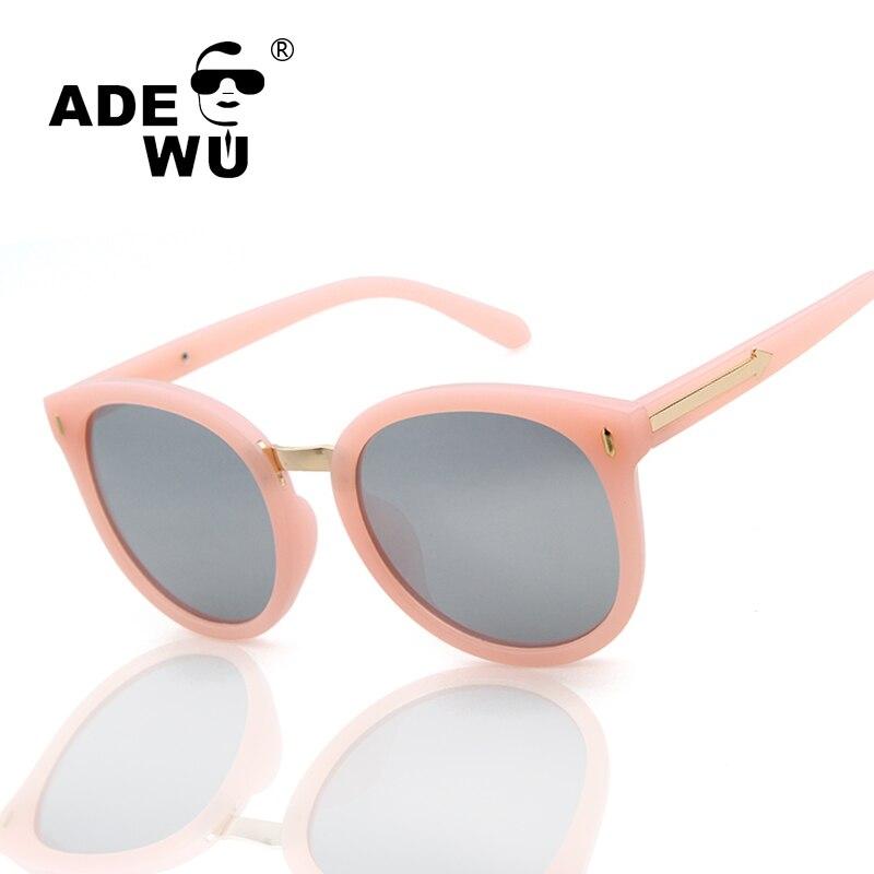 Adewu Womens Sunglasses Acetate Pink Glasses Frame Round Sunglasses Anti-Reflective Lens Lady Arrow Brand Shades lentes de sol ...
