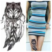 2016 Lobo con La Pluma Fresca Belleza Tatuaje Temporal Pegatinas Tatuaje Impermeable Caliente