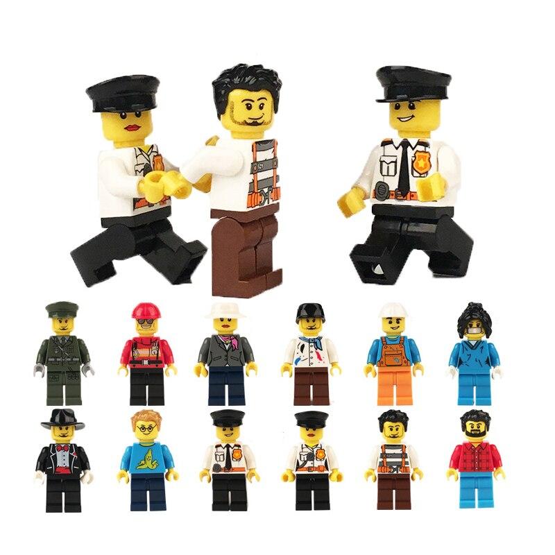 12pcs Diy Figures City Policeman Fireman Magician Teacher Nurse Building Blocks Toys Compatible Legoed Gift For Kids Quell Summer Thirst Figurines