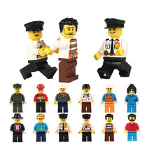 12Pcs DIY Figures City PoliceMan Fireman Magician Teacher Nurse Building Blocks Toys Compatible Legoed Gift For Kids(China)