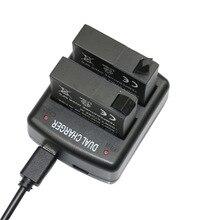 2 pcs bateria da câmera 1400 mah baterias de lítio com carregador duplo para câmera xiaomi yi ii 4 k