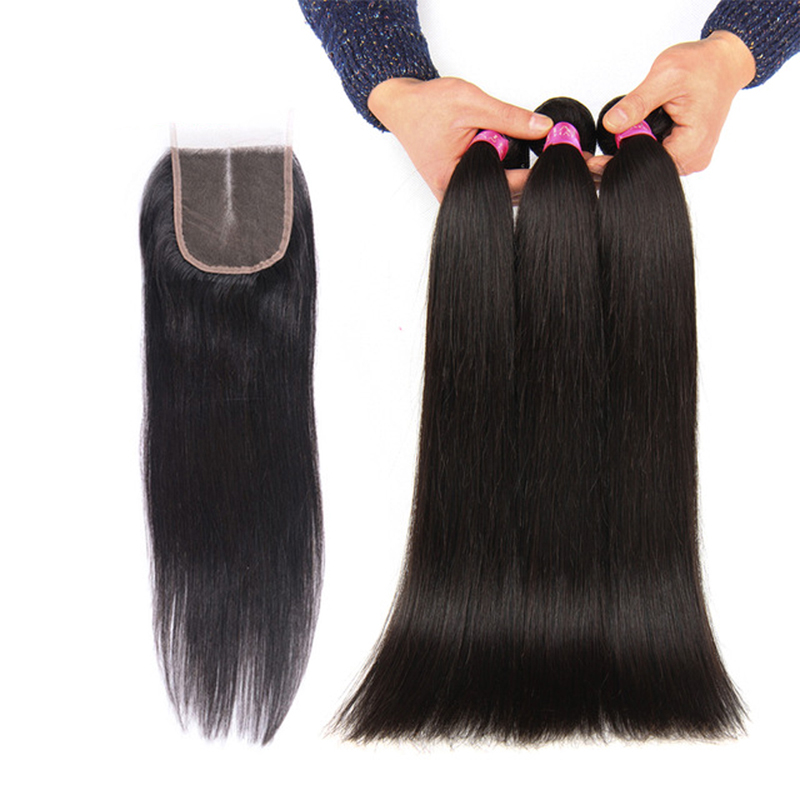 Beauty Grace Hair Brasilian Straight Hair Weave Bundles With Closure - Menneskelig hår (for svart)