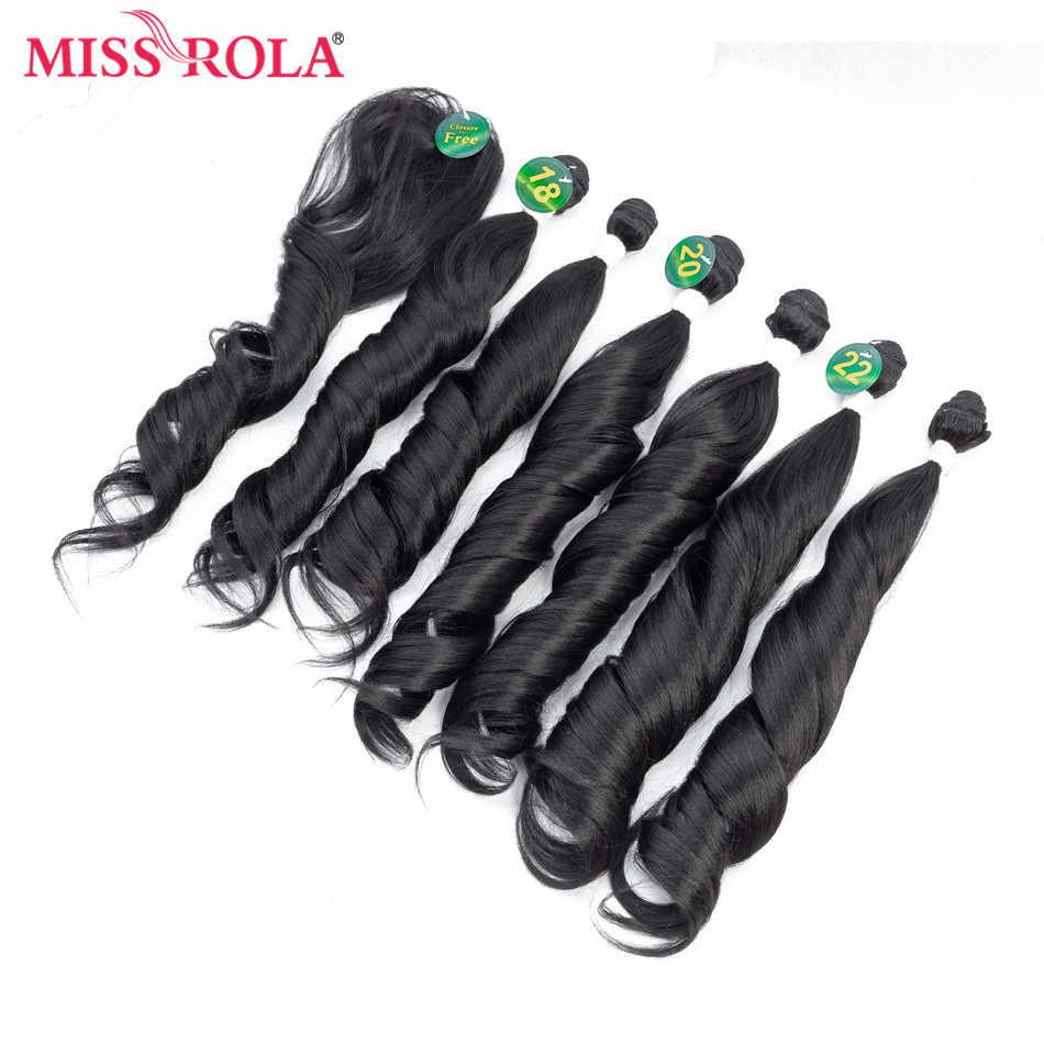 Miss Rola Ombre faliste wiązki włosów syntetyczne doczepy do włosów wiązki falowanych T1B/27 18-22 ''6 sztuk/paczka włosy do przedłużania za darmo zamknięcie