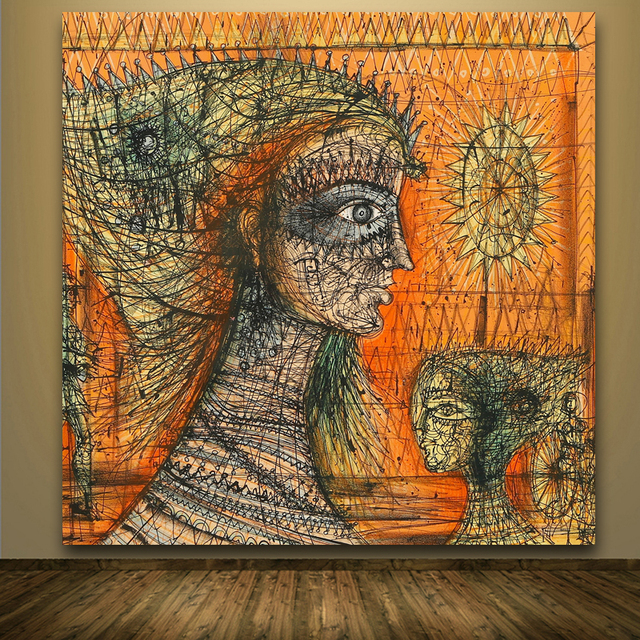 Jean Carzou Figure con Sfondo Arancione quadri Astratti Stampe Su ...