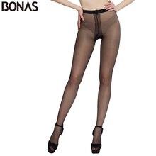 BONAS 2D T Crotch Pantyhose Women Fashion Black Nylon Tights Slim Sexy Seamless Design Girls Elasticity Spandex Female