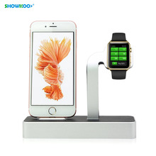 SHOWKOO for Apple Watch for iPhone 5 5S 6 6S Charging Holder Stand Charge Station Dock Cradle 2in1 Aluminum Charging Base