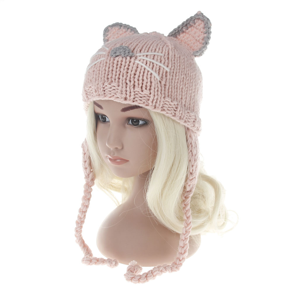 Kids Cat Ear Skullies Beanies Winter Hat Children Warm Hat Fashion Knitting Warm Cap Warm Wool Hat Cap Leisure Winter Hats the new children s cubs hat qiu dong with cartoon animals knitting wool cap and pile