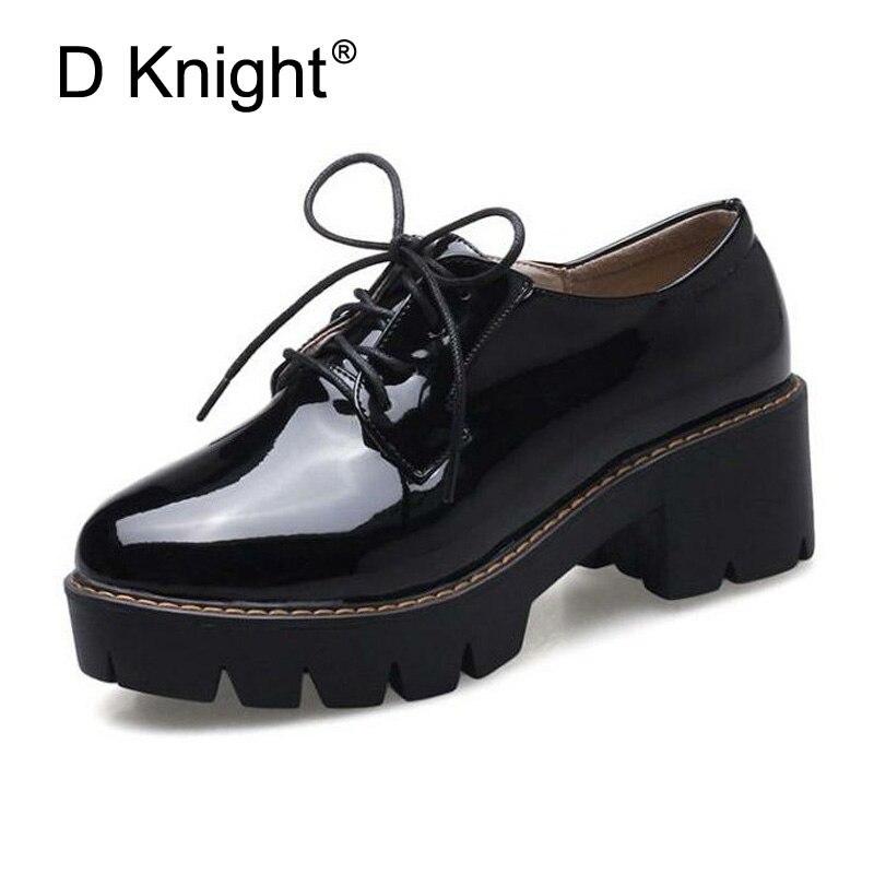 envío gratis e9de6 9b181 € 24.35 43% de DESCUENTO|Zapatos Oxford de tacón alto para mujer zapatos  Vintage de charol con cordones zapatos blancos informales para mujer-in ...