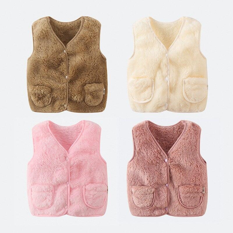 Winter Children Vest Fur Waistcoat Thick Warm Kid Jacket Sleeveless Baby Girl Boy Toddler Children Clothing Casual