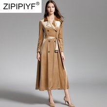 Fashion Women Winter Long Coats Velvet Double-breasted Solid Color Trench Casual Female Noble Coat With Adjustable Belt Z042