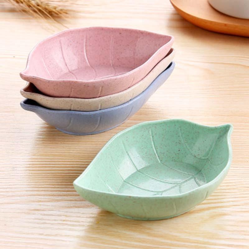 잎 모양 아기 아이 접시 그릇 밀 짚 간장 접시 쌀 그릇 접시 하위 접시 일본 식기 음식 컨테이너 1 pc