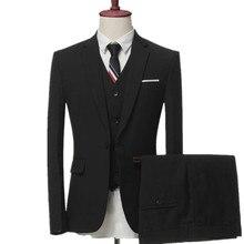 Для мужчин бизнес-повседневные Комплекты/Для мужчин Костюм из трех предметов мужской жилет + блейзер + Штаны плюс размер костюм куртка брюки жилет
