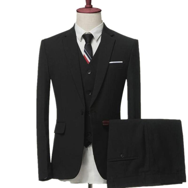 men's business casual suits sets / Men three-piece suits male vest+Blazers+pants PLUS SIZE suit coat jacket trousers waistcoat