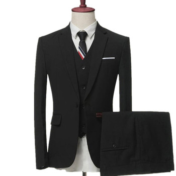 men's business casual suits sets / Men three-piece suits male vest+Blazers+pants PLUS SIZE suit coat jacket trousers waistcoat