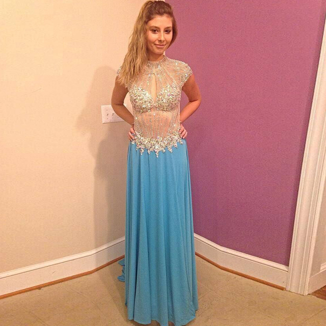 2015 Custom Size Most Sexy See Through A line Prom Dress Short ...